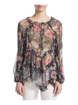 Zimmermann iris ruffle silk top