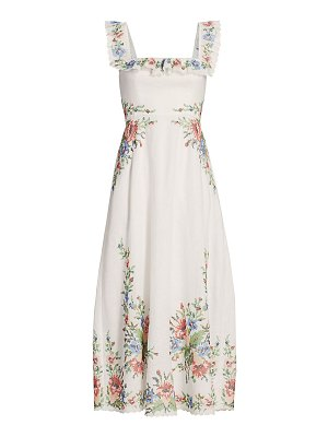 Zimmermann juliette pixel floral maxi a-line dress