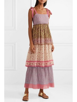 Zimmermann juniper tiered printed plissé-cotton and silk-blend maxi dress