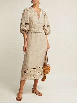 Zimmermann juno belted guipure lace linen dress