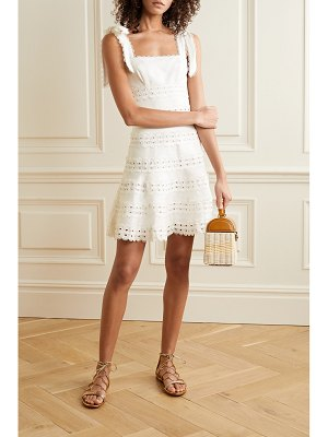 Zimmermann kirra tie-detailed broderie anglaise linen mini dress