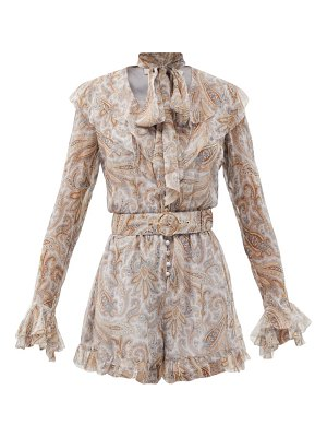 Zimmermann luminous paisley-print ruffled silk playsuit