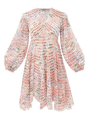 Zimmermann poppy floral-print broderie-anglaise ramie dress