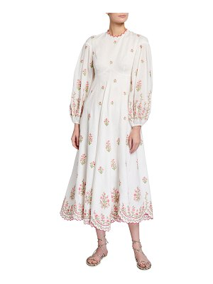Zimmermann Poppy Embroidered Floral Midi Dress