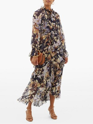 Zimmermann sabotage floral print silk chiffon midi dress
