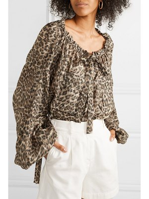 Zimmermann suraya gathered leopard-print silk-charmeuse blouse
