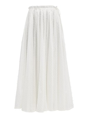 Zimmermann suraya lace insert swiss dot cotton midi skirt