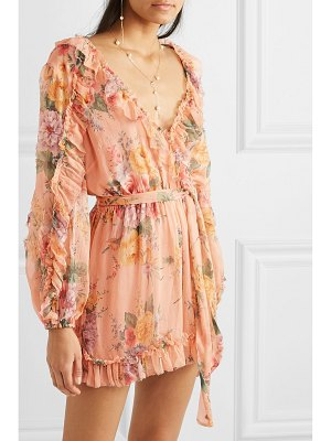Zimmermann zinnia belted ruffled floral-print silk-crepon playsuit