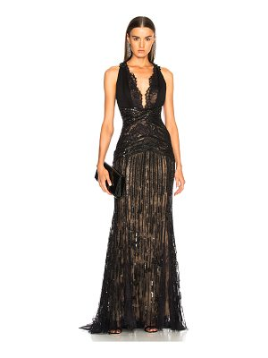 Zuhair Murad Embellished Lace Sleeveless Gown