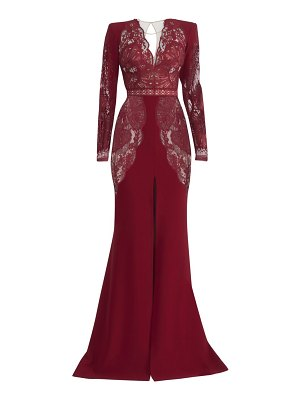 Zuhair Murad mirai lace long-sleeve crepe slit gown