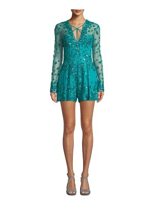 Zuhair Murad Tie-Neck Long-Sleeve Sequin-Embroidered Tulle Romper