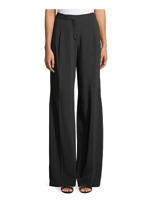 Zuhair Murad Wide-Leg Crepe Tux Pants with Beaded Side