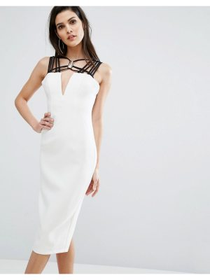 8th Sign The  Neck Detail Contrast Midi Dress
