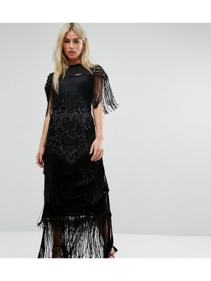 A Star Is Born Cape Detail Maxi Dress In All Over Embellishment