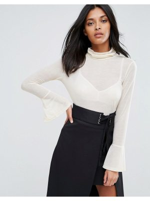 A State Of Being Chantelle Top With High Neck And Flare Sleeves