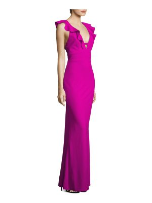 ABS by Allen Schwartz ruffled v-neck gown