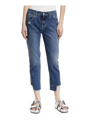 Acynetic Gemma Mid-Rise Distressed Straight-Leg Crop Jeans