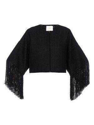 Adam Lippes Basketweave Fringed Cropped Jacket