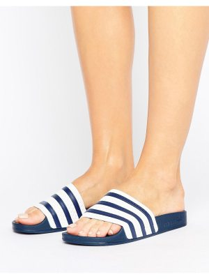 adidas Originals White And Navy Adilette Slider Sandals