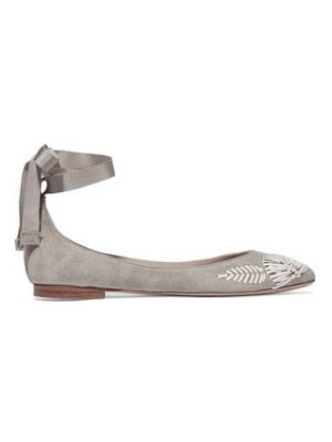 Aerin embroidered suede ballet flats