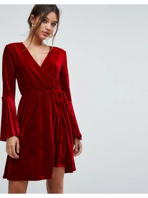 Aeryne velvet wrap dress with pleated sleeves
