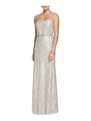 After Six metallic lace strapless blouson gown