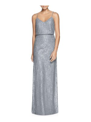 After Six metallic lace two-piece gown