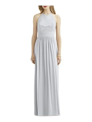 After Six sequin open back chiffon gown