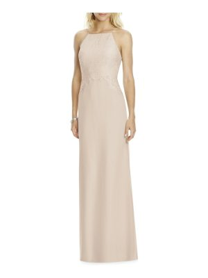 After Six square neck lace & chiffon gown