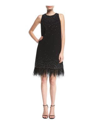 Aidan by Aidan Mattox Beaded Crepe Cocktail Dress w/ Feather Trim
