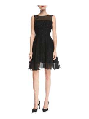 Aidan by Aidan Mattox Metallic Burnout Cocktail Dress w/ Illusion Neck