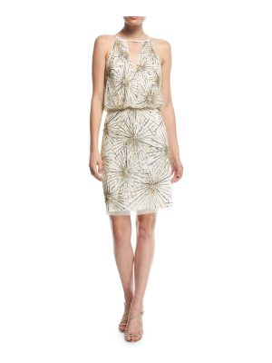 Aidan Mattox Beaded Blouson Cocktail Dress