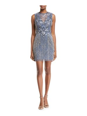 Aidan Mattox Beaded V-Neck Illusion Dress w/ Fringe Skirt
