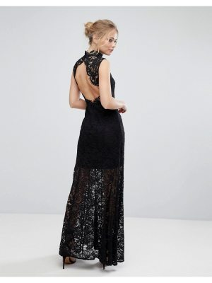 aijek Lace High Neck Maxi Dress With Open Back And Front Slit