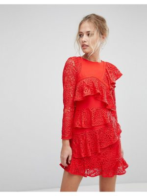 aijek Long Sleeve Mini Lace Shift Dress With Ruffle Detail
