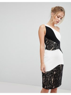 aijek One Shoulder Midi Pencil Dress With Monochrome Lace Detail