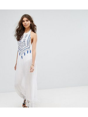 Akasa Embroidered Tie Back Tassel Maxi Beach Dress