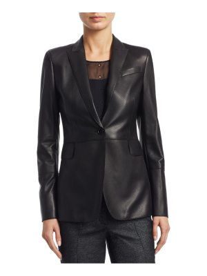 Akris punto leather lapel blazer