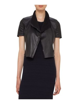 Akris punto leather mini biker jacket