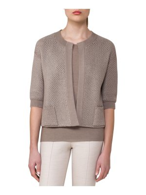 Akris Reversible Netted Cashmere-Cotton 1/2-Sleeve Cardigan