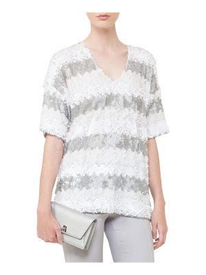 Akris V-Neck Elbow-Sleeve Sequin Stripes Top