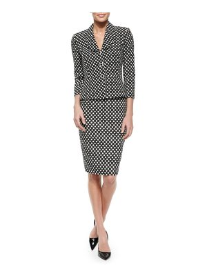 Albert Nipon Polka-Dot Peplum Jacket & Skirt Suit Set