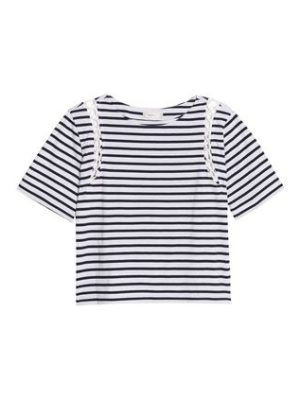 A.L.C. lattice-trimmed striped cotton
