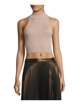 A.L.C. Presley Metallic Rib-Knit Cropped Top