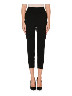 Alexander McQueen High-Waist Wool-Silk Cropped Tux Pants