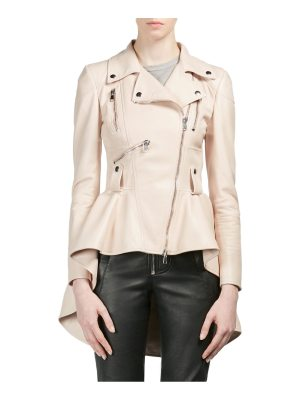 Alexander McQueen leather peplum moto jacket