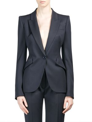 Alexander McQueen peak shoulder single-button jacket