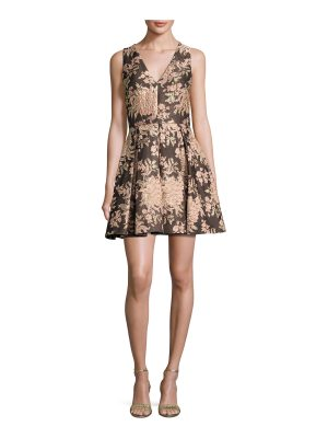 Alice + Olivia Willow Sleeveless Pleated Floral Jacquard Fit-and-Flare Dress