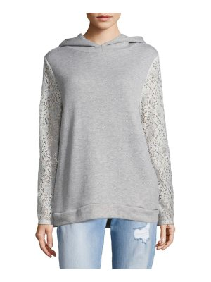 Alison Andrews Heathered Lace-Sleeve Hoodie