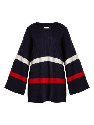 ALLUDE Hooded striped cashmere sweater